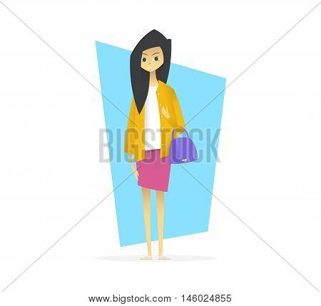 Young girl with handbag. Cartoon style vector illustration.