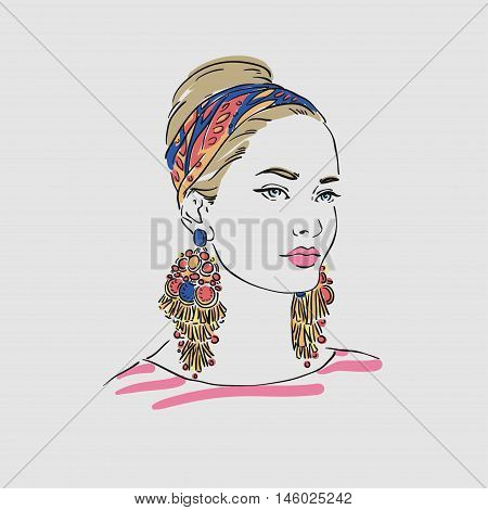 Beautiful Young Women In A Turban With Big Gold Earrings  Vector Hand Drawn Illustration.