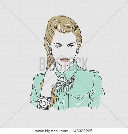 Beautiful Young Women With Big Silver Earrings And Necklace In Denim Shirt. Vector Hand Drawn Illust
