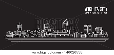 Cityscape Building Line art Vector Illustration design - Wichita city