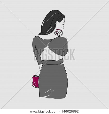 Beautiful Young Women In A Fashion Evening Gray Dress With Bag. Vector Illustration