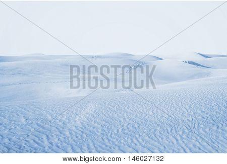Arctic desert. winter landscape with snow drifts.