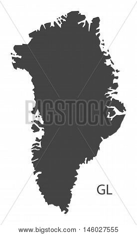 Greenland grey map isolated vector high res