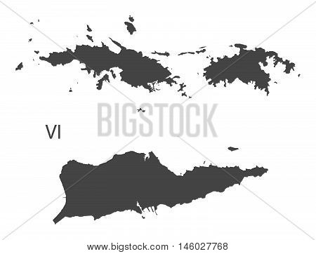 US Virgin Islands grey map isolated vector high res