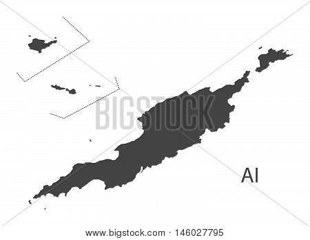 Anguilla Islands grey map isolated vector high res