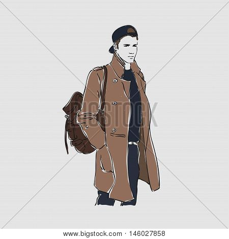Attractive Young Man In Fashion Coat And Baseball With Backpack . Vector Hand Draw Illustration. Iso