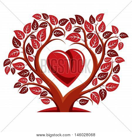 Vector illustration of tree with branches in the shape of heart with an apple inside love and motherhood idea image.