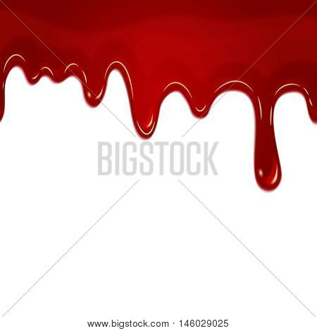 Vector dripping seamless blood. Blood liquid, drip blood wet, seamless flow blood illustration