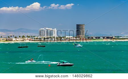 Boats in the port of Acre - Israel, the Mediterranean Sea