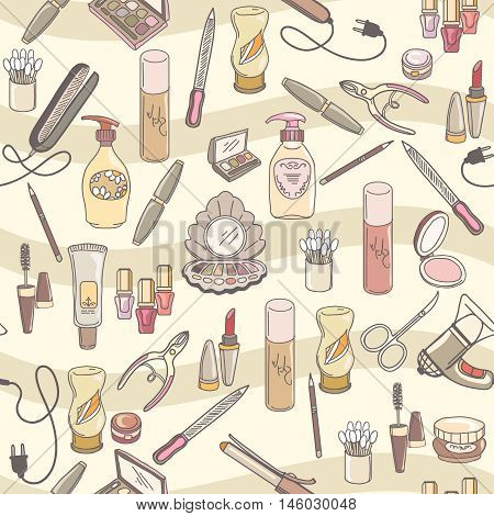 Hand drawn make up and cosmetics vector seamless pattern.  Cosmetic makeup pattern, fashion cosmetic female illustration