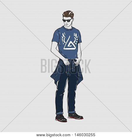 Attractive Young Man In Fashion T-shirt, Glasses And Pants. Vector Hand Draw Illustration. Isolated.