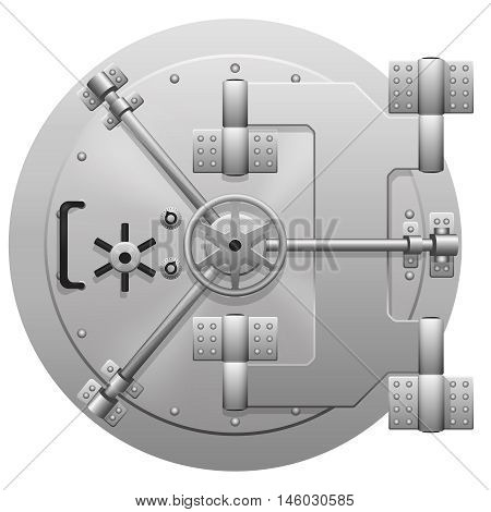 Vector metallic bank vault door isolated on white background. Locked safe door, valve steel, reliability control secret illustration