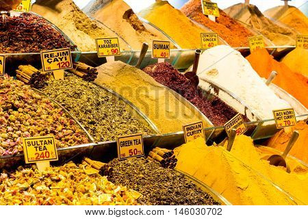 Spices are sold in the shops of the Grand Bazaar