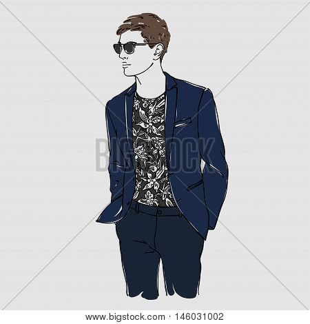 Attractive Man With Glasses In Fashion Blue Suit. Hand Draw Vector Illustration. Isolated.