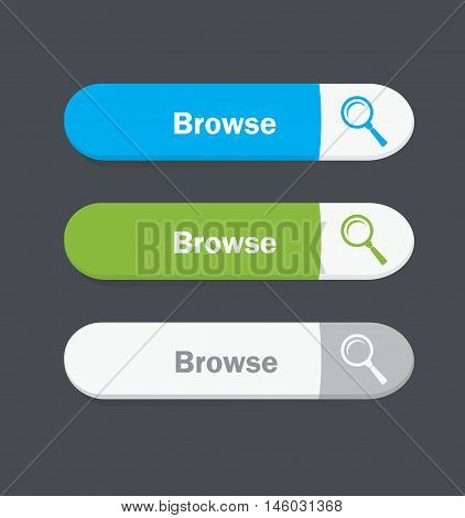 Set of vector web interface oval buttons. Browse.