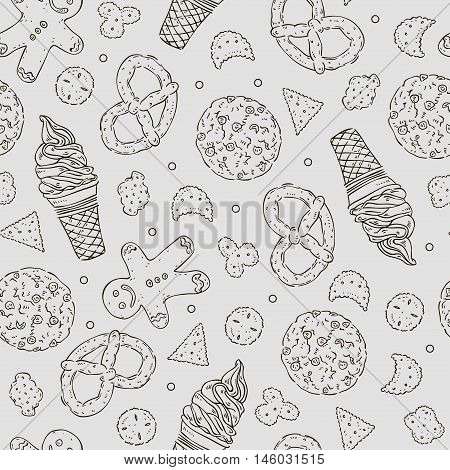 Vector Hand Drawn Seamless Texture Of Different Confectionary.
