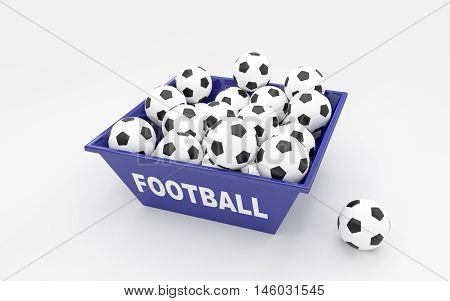 A lot of football balls in the box. 3D rendering