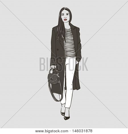 Beautiful Woman In A Striped Coat And White Jeans. Vector  Hand Drawn Illustration.
