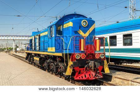 Soviet-made shunter diesel locomotive at Tashkent Station - Uzbekistan