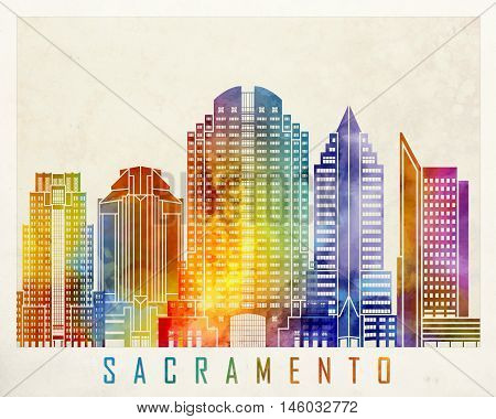 Sacramento landmarks skyline in artistic watercolor poster