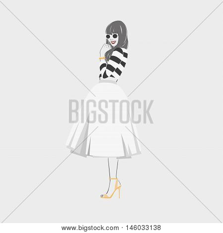 Beautiful Young Women In Striped Blouse And Midi Skirt In Sanglasses. Vector Hand Drawn Illustration