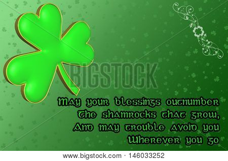 Saint Patrick's Day Card with green clover leaf and Irish blessing