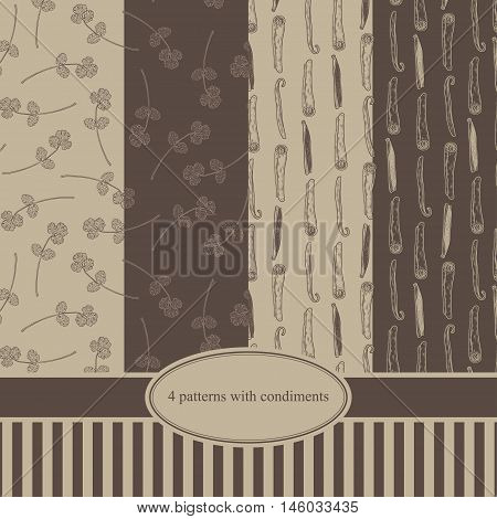 Vector Seamless Textures With Vanilla And Cinnamon Sticks And Coriander. Natural Spices. Compilation