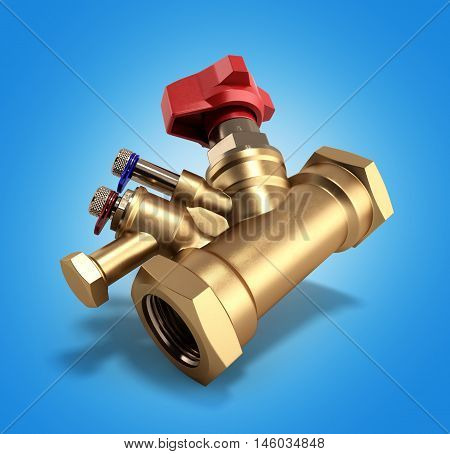 Balancing Valve With Drain For Plumbing 3D Rendering On Gradient Background