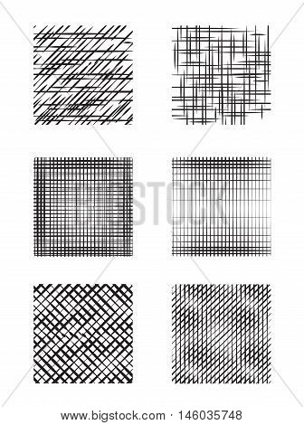 Set of square shapes with hatching. Vector design elements.
