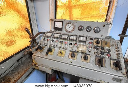 Control room and control panel of a old tugboat