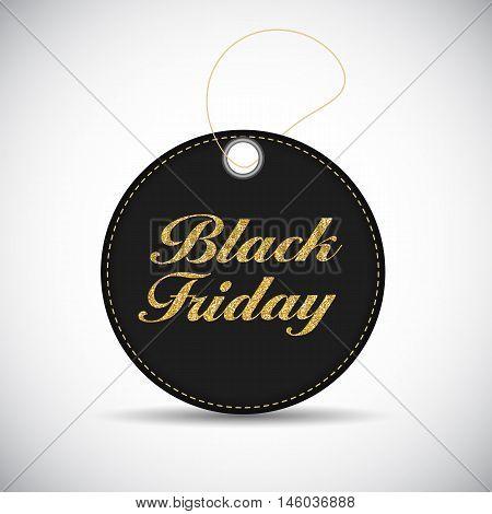 Black Friday Sale Black Label with Golden Letters Vector Illustration EPS10