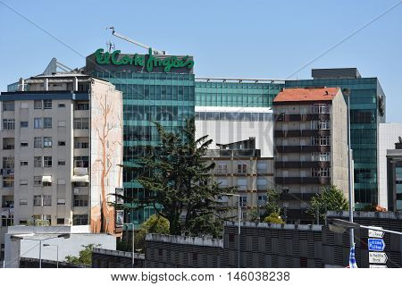 PORTO, PORTUGAL - AUG 22: El Corte Inges store in Porto, Portugal, as seen on Aug 22, 2016. It is the biggest department store group in Europe and ranks fourth worldwide.