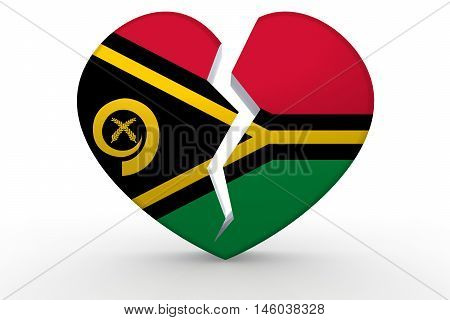 Broken White Heart Shape With Vanuatu Flag