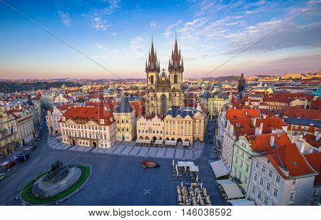 Church of our lady before tyn on Old Town Square Prague Czech republic