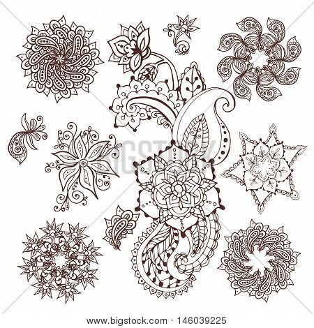 Mandala pattern set. Henna mehndi design. Paisley pattern. Hand drawn design elements.