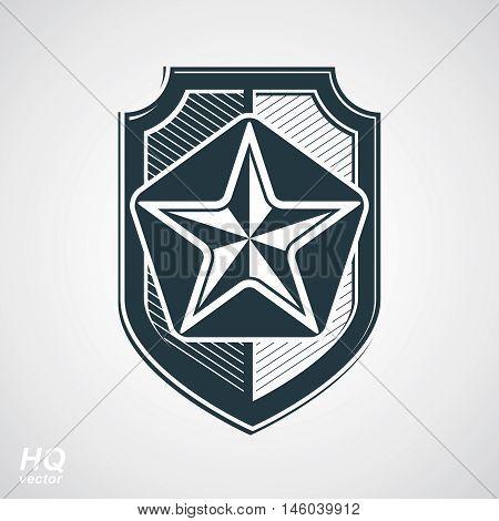 Vector shield with a pentagonal Soviet star protection heraldic blazon.