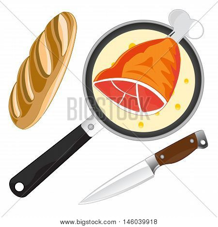 Griddle with fried by meat and long loaf of bread with knife