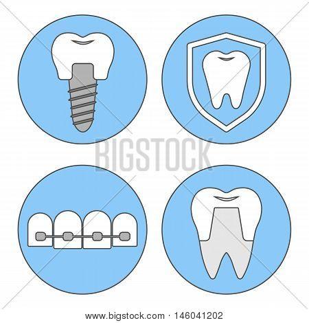 Set of vector icons for dental clinics orthodontics dental implants orthopedics.