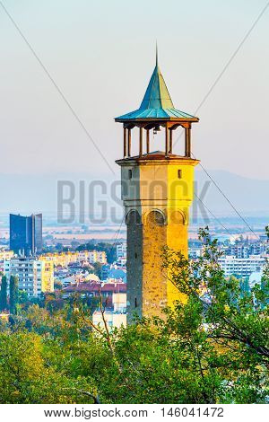 Plovdiv aerial skyline, Bulgaria with Clock Tower at Sahat tepe, Danov hill