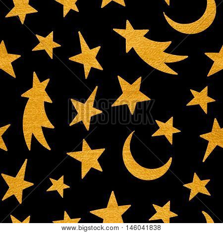 Gold textured cosmic seamless pattern of the star, moon and comet on black background. Design element for background, textile, paper packaging, wrapping paper and other. Vector illustration.