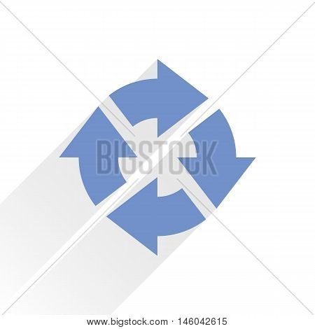 Blue arrow icon reload refresh rotation reset repeat sign. Web pictogram with gray long shadow on white background. Simple solid plain flat style. Vector illustration graphic design 8 eps