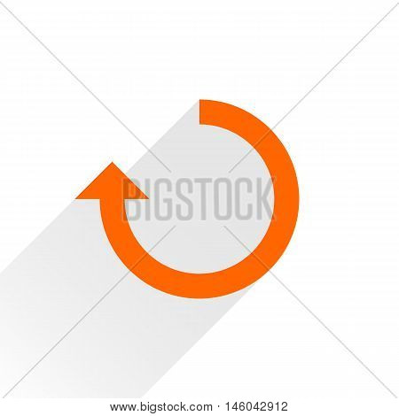 Orange arrow icon reload refresh rotation reset repeat sign. Web pictogram with gray long shadow on white background. Simple solid plain flat style. Vector illustration graphic design 8 eps