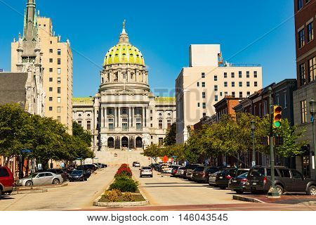 Lancaster PA - September 3 2016: The Pennsylvania State Capitol Building in Harrisburg.