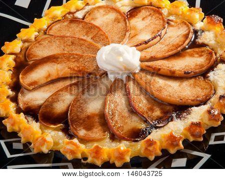 Homemade apple cake close up tilted view horizontal shot