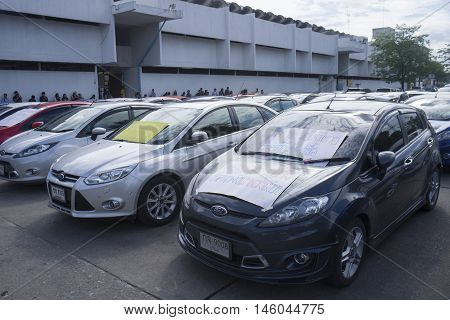 Bangkok Thailand : August 31 2016 - ford's car user in thailand get a flash mob at Nang Leang Racecourse to call for justice about gear problem in ford fiesta car, Deception customer of by ford thailand company Bangkok Thailand