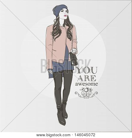 Beautiful Hipster Young  Women In A Fashion Pink Jacket In Cap And Knitted Sweater. Vector Illustrat