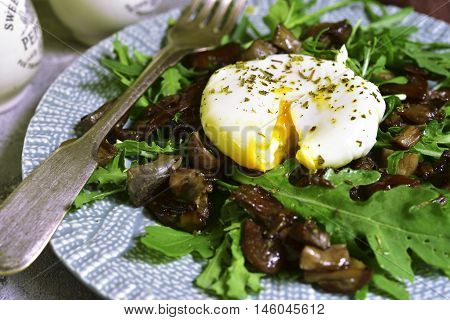 Warm Mushroom Salad With Arugula And Poached Egg.