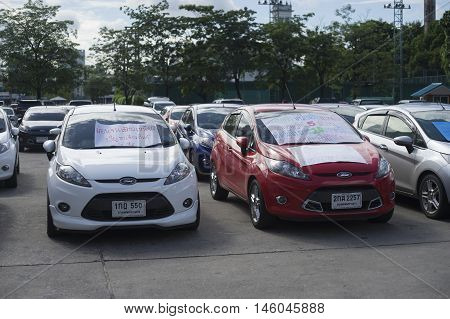 Bangkok Thailand : August 31 2016 - ford's car user in thailand get a flash mob at Nang Leang Racecourse to call for justice about gear problem in ford fiesta car,Deception customer of by ford thailand company Bangkok Thailand