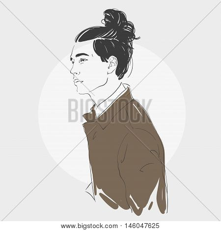 Handsome Young Man With Long Hair. Hipster Hairstyle Topknot . Vector Fashion Hand Drawn Illustratio