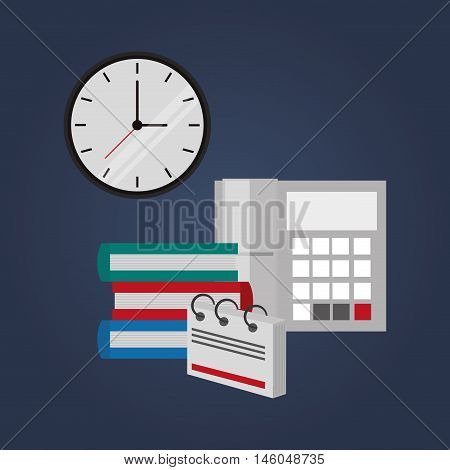 flat design books with clock telephone and notepad  office related items icon vector illustration